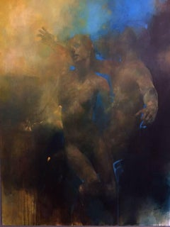 Something Else -blue and yellow underwater figurative painting oil on canvas