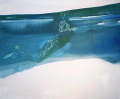Surface - contemporary figurative female nude underwater blue oil painting