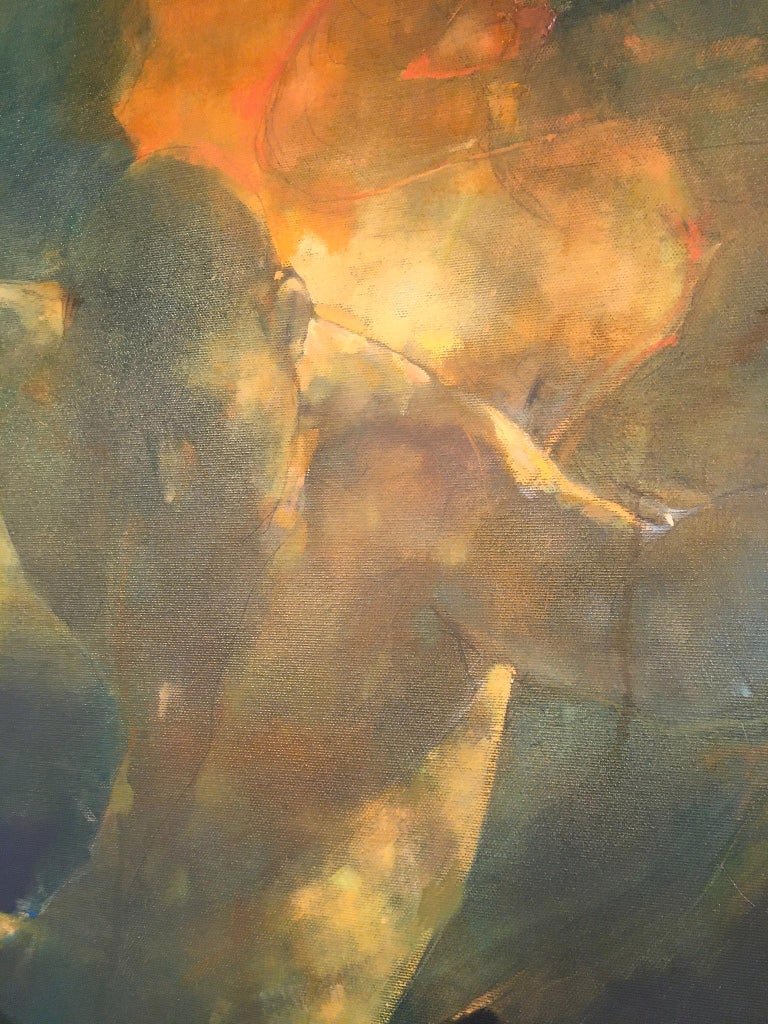 Turmoil  -orange and yellow underwater figurative painting oil on canvas - Painting by Bill Bate