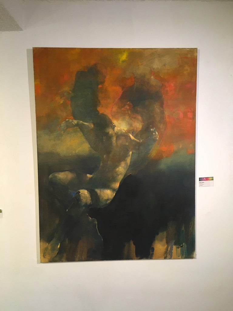 Turmoil  -orange and yellow underwater figurative painting oil on canvas - Brown Figurative Painting by Bill Bate
