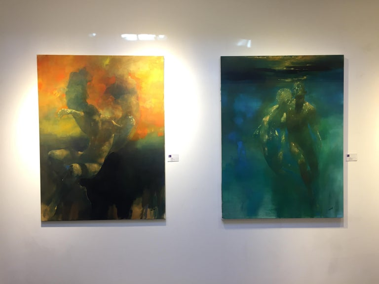 Turmoil  -orange and yellow underwater figurative painting oil on canvas For Sale 1