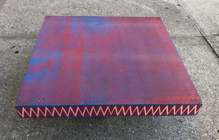 Lacquer-painted op-art low table by the celebrated Vogue photographer circa 1960s. His rarely seen furniture collection was briefly retailed at Bloomingdales. Acquired from the artist's estate.