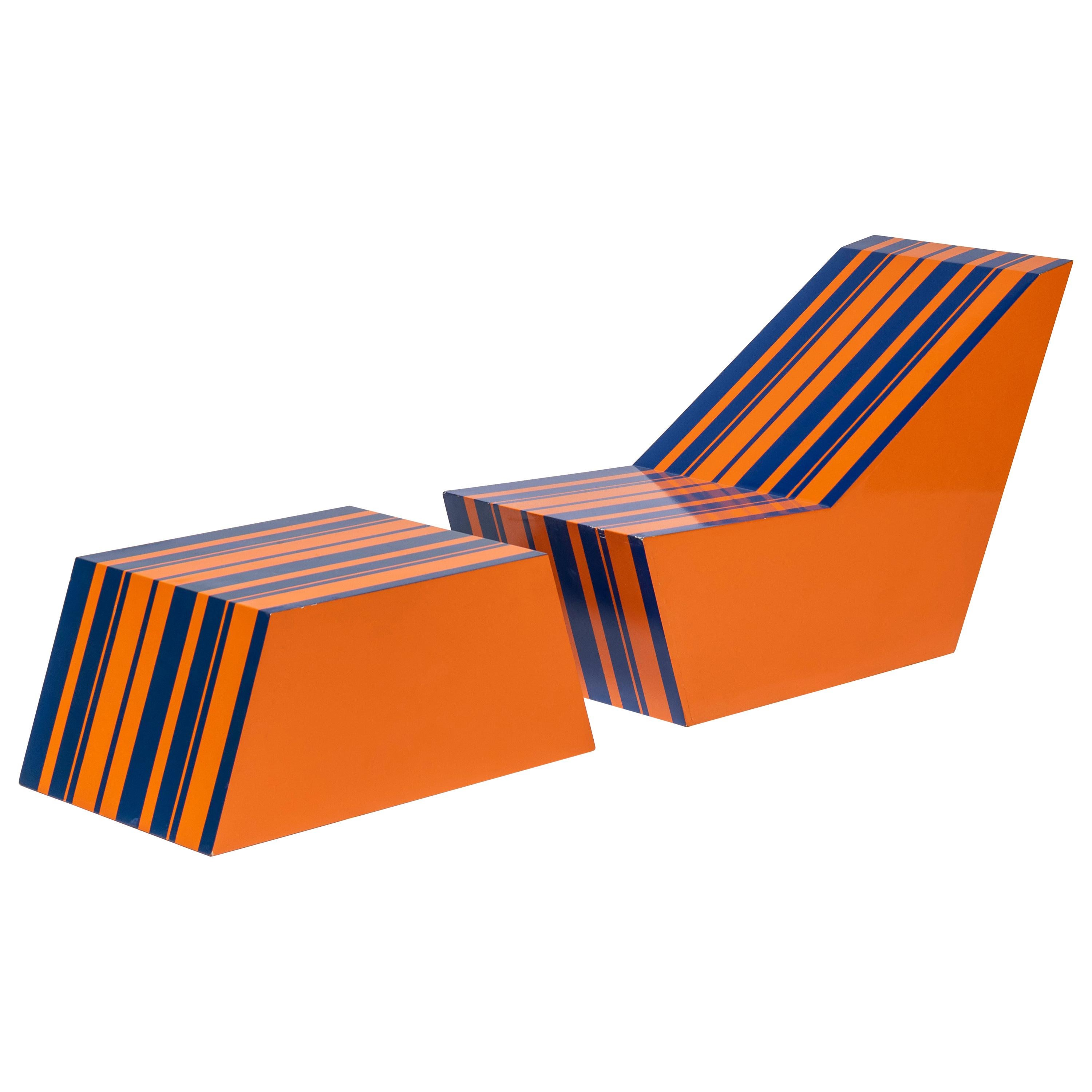 Bill Bell Painted Plywood Chair and Ottoman