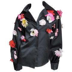 Bill Blass 1970s New Flower Applique Jacket