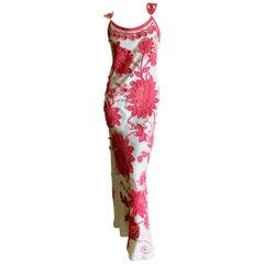 Bill Blass 1980's Applique Guipure Floral Evening Dress w Corset Lace Back