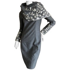 Bill Blass 1980's Gray Cocktail Dress with Crystal & Pearl Embellishments