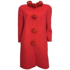 Bill Blass 1980's Pink Coral Pom Pom Wool Coat