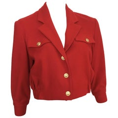 Bill Blass 1980s Red Wool Cropped Jacket Size 4.