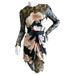 Bill Blass 1980's Silk Floral Dress with Scallop Lace and Bow Silk Belt