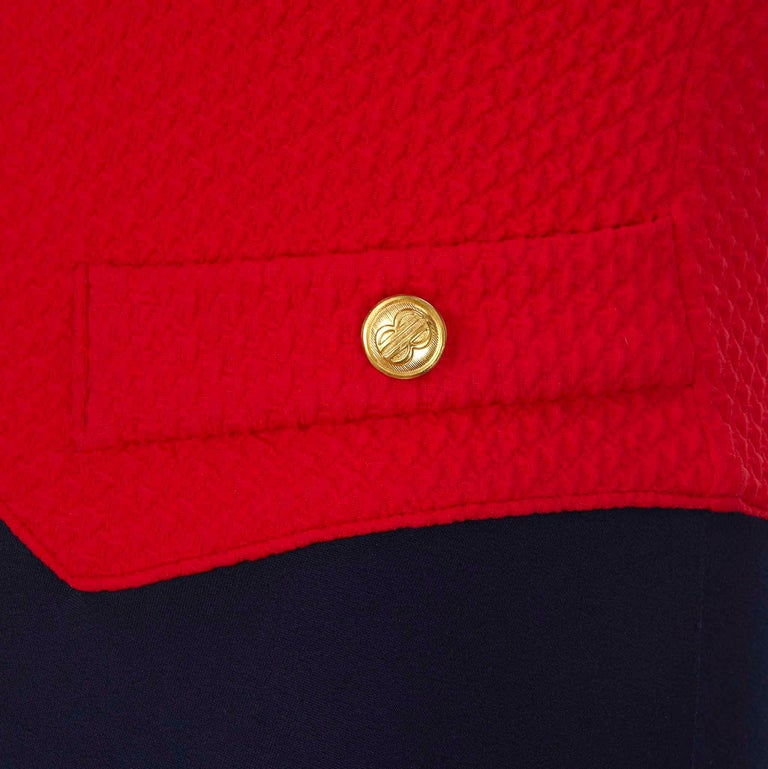 Bill Blass 1980s Vintage Red & Navy Lycra Faux Pocket Gold Button Swimsuit  In Good Condition For Sale In , GB