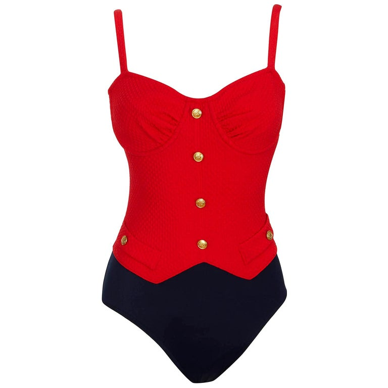 Bill Blass 1980s Vintage Red & Navy Lycra Faux Pocket Gold Button Swimsuit  For Sale