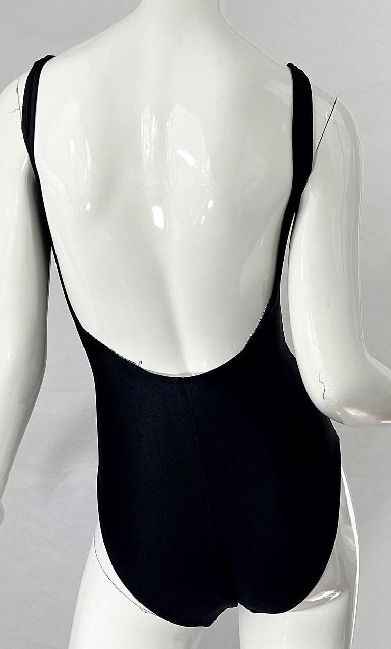 Bill Blass 1990s Black Sexy Cut Out Size 6 / 8 One Piece 90s Swimsuit Bodysuit For Sale 7