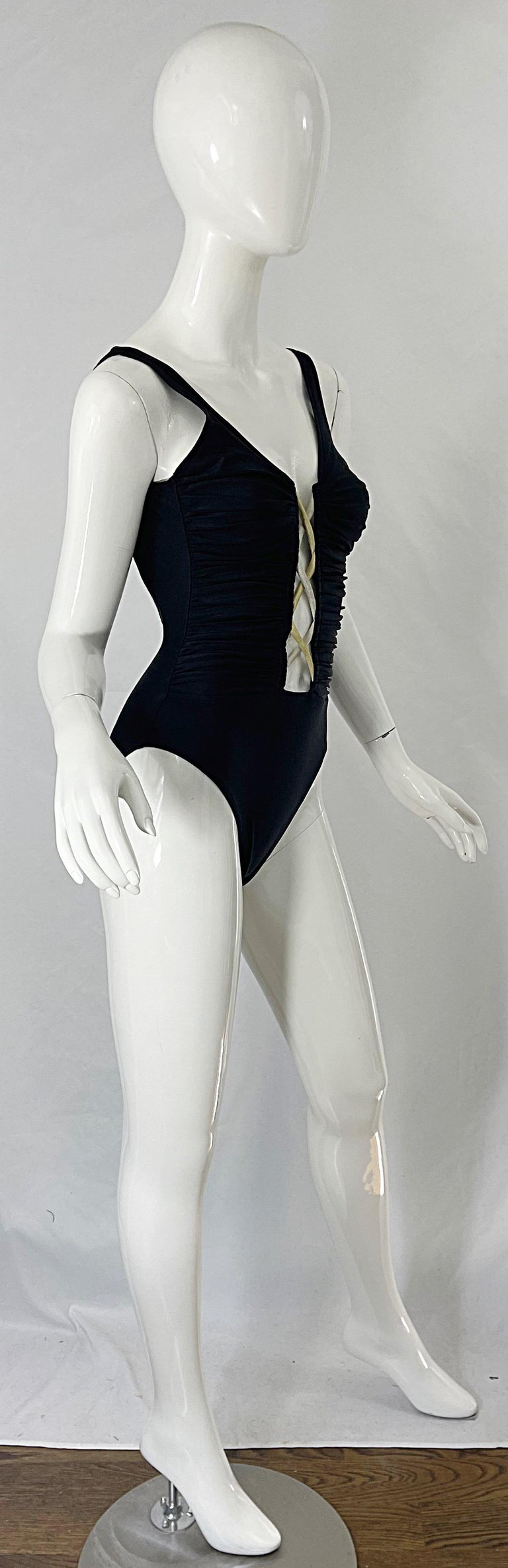 Bill Blass 1990s Black Sexy Cut Out Size 6 / 8 One Piece 90s Swimsuit Bodysuit For Sale 8