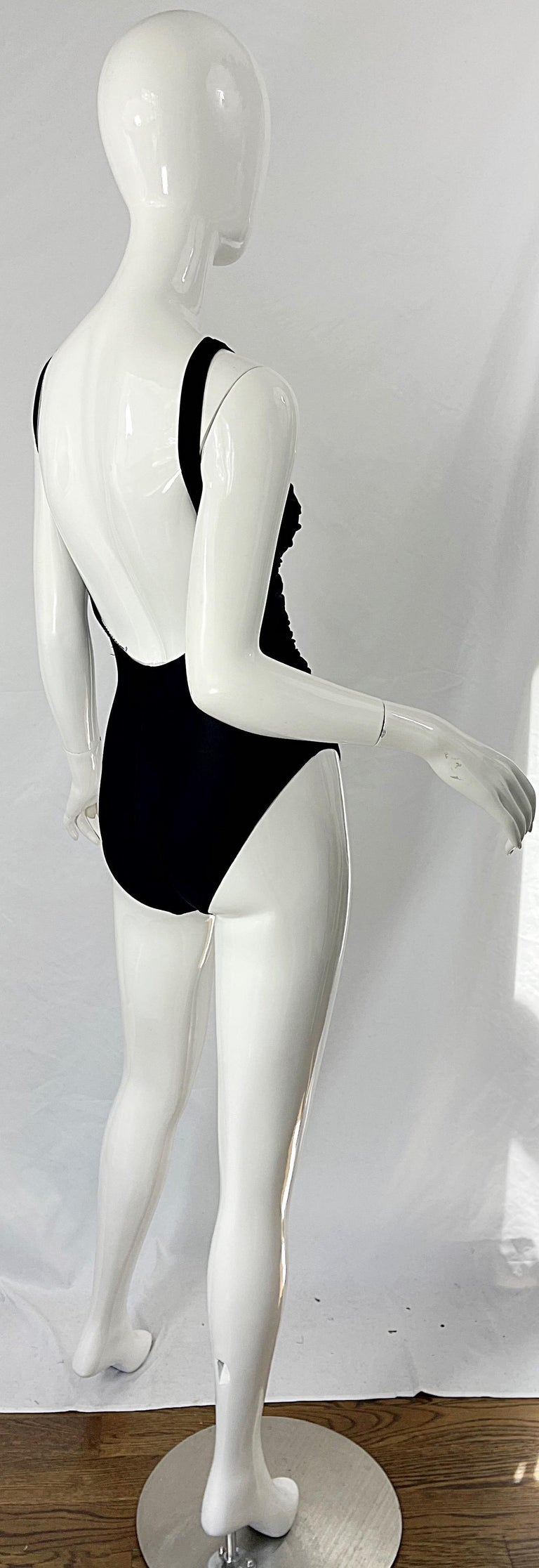 Bill Blass 1990s Black Sexy Cut Out Size 6 / 8 One Piece 90s Swimsuit Bodysuit For Sale 9