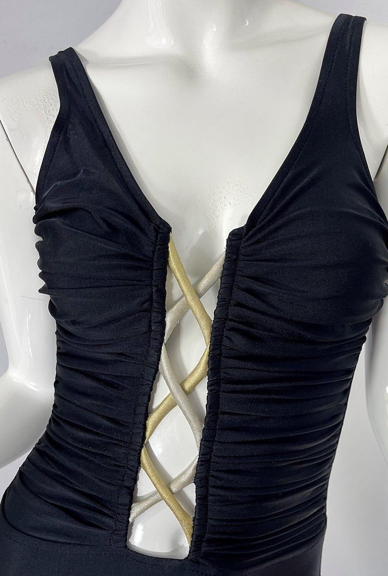 Bill Blass 1990s Black Sexy Cut Out Size 6 / 8 One Piece 90s Swimsuit Bodysuit For Sale 1