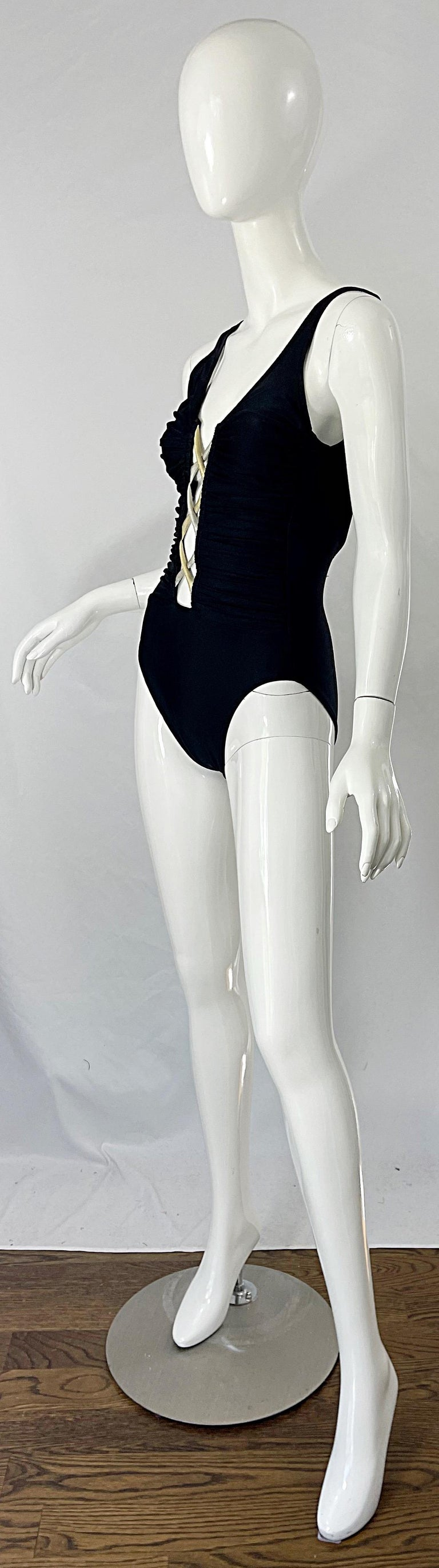 Bill Blass 1990s Black Sexy Cut Out Size 6 / 8 One Piece 90s Swimsuit Bodysuit For Sale 3