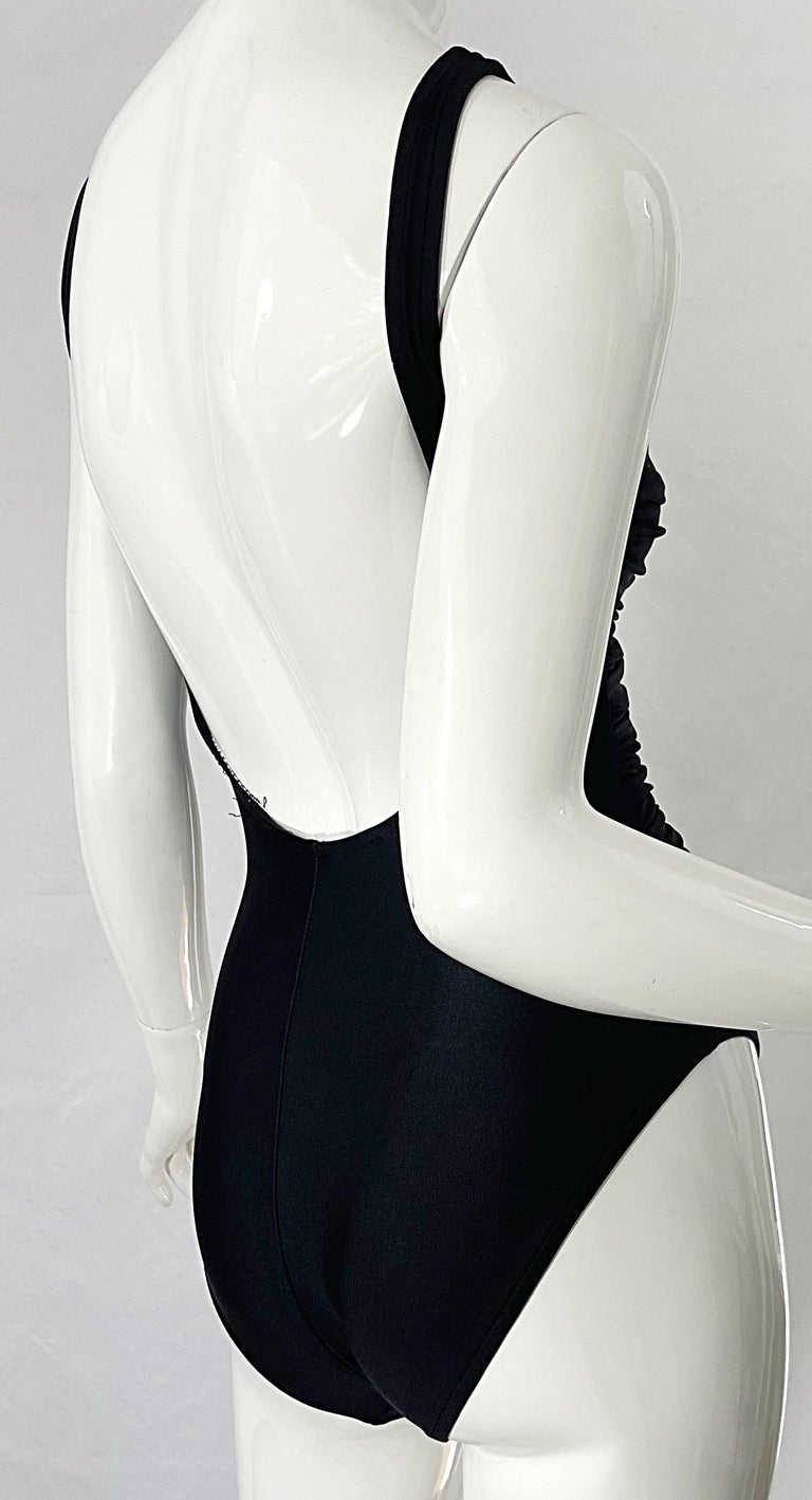 Bill Blass 1990s Black Sexy Cut Out Size 6 / 8 One Piece 90s Swimsuit Bodysuit For Sale 5