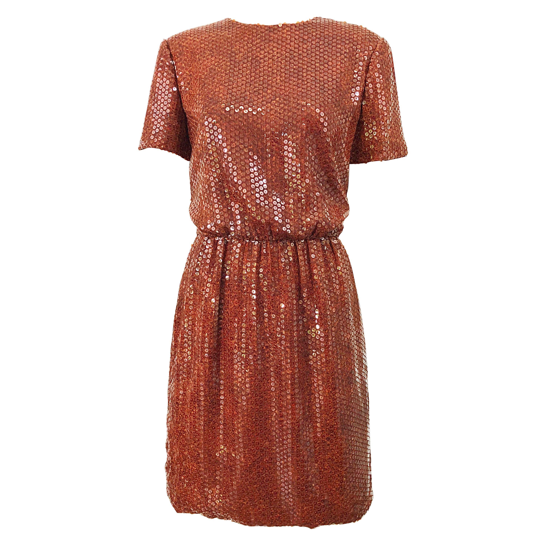 Bill Blass 1990s Tortoise Shell Print Brown Sequin Size 8 Vintage 90s Dress