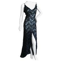 Bill Blass Attributed Semi Sheer Black Sequin Evening Dress with Provenance