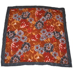 "Bill Blass ""Autumn Foliage"" With Gray Borders Silk Scarf"