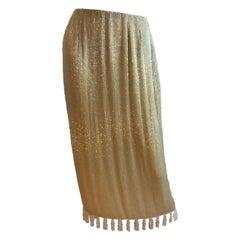 Bill Blass Beaded Fringe Tassel Detail Skirt