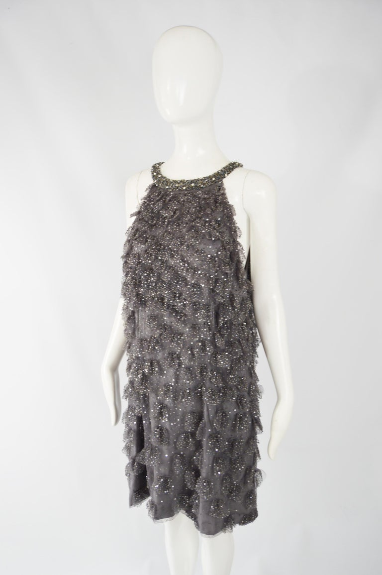 Gray Bill Blass Beaded Tulle Party Dress For Sale