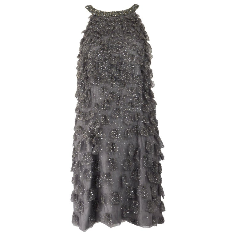 Bill Blass Beaded Tulle Party Dress For Sale