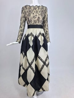 Bill Blass black and off white Harlequin gown, 1994