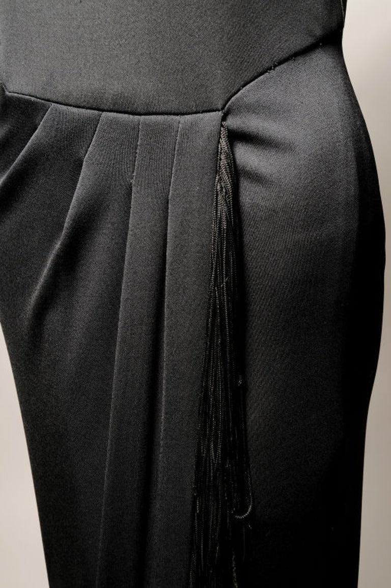 Bill Blass Black Jersey Dress with Fringe Trimmed Sexy High Slit  In Excellent Condition For Sale In New Hope, PA