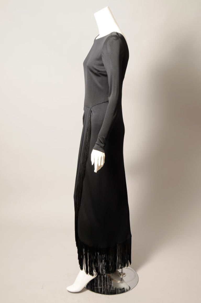Women's Bill Blass Black Jersey Dress with Fringe Trimmed Sexy High Slit  For Sale