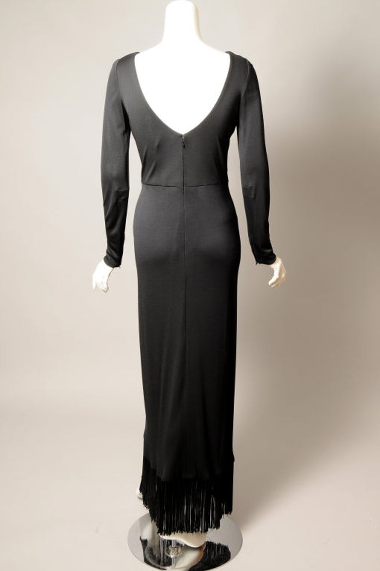 Bill Blass Black Jersey Dress with Fringe Trimmed Sexy High Slit  For Sale 1