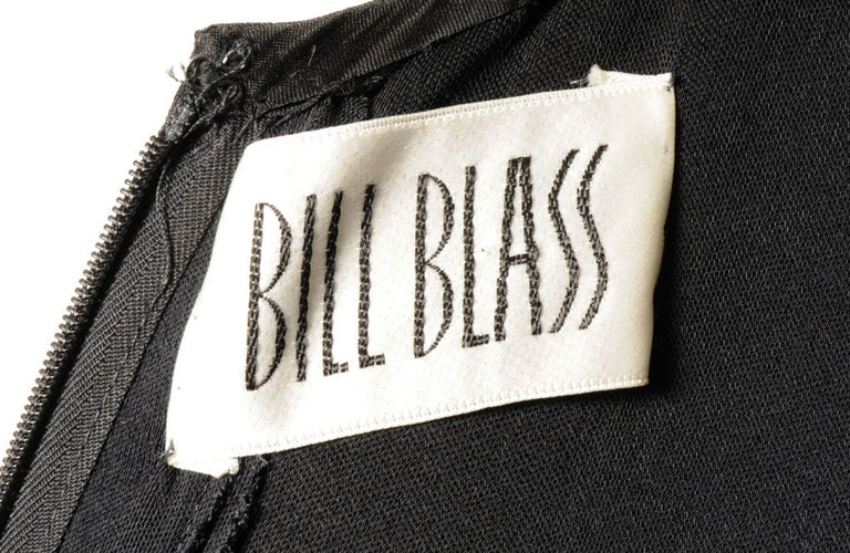 Bill Blass Black Jersey Dress with Fringe Trimmed Sexy High Slit  For Sale 2