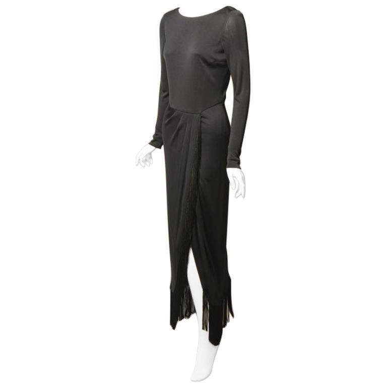 Bill Blass Black Jersey Dress with Fringe Trimmed Sexy High Slit  For Sale