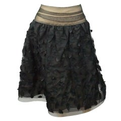 Bill Blass Black Silk Organza and Tulle Skirt
