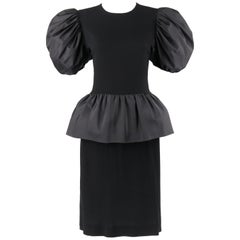 BILL BLASS c.1980's Black Crepe Dramatic Puff Sleeve Peplum Skirt Party Dress