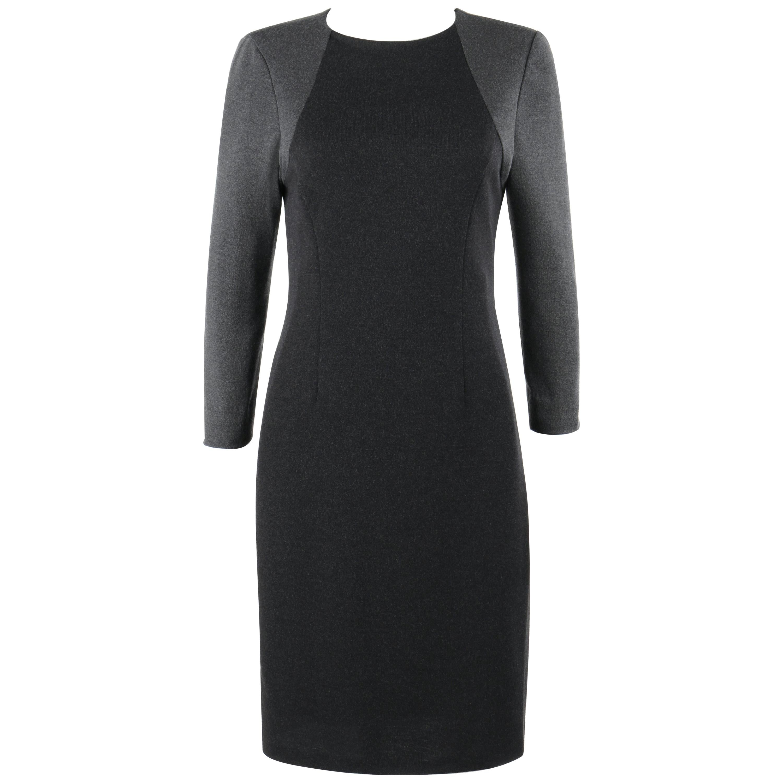 BILL BLASS c.1980's Gray Black Color Block Long Sleeve Fitted Knit Sheath Dress