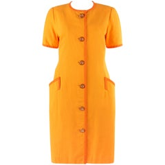 BILL BLASS c.1980's Orange Houndstooth Trim Short Sleeve Button Up Day Dress