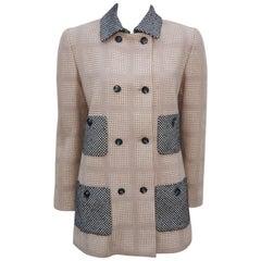 Bill Blass Cashmere Blend Wool Houndstooth Jacket