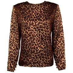 Bill Blass Classic Leopard Print Silk Blouse
