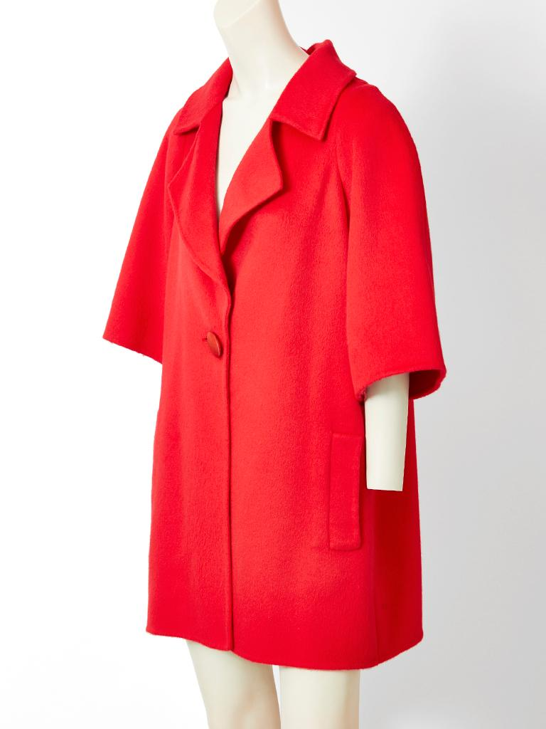 Red Bill Blass Double Face Cashmere Coat with Smocking Detail For Sale