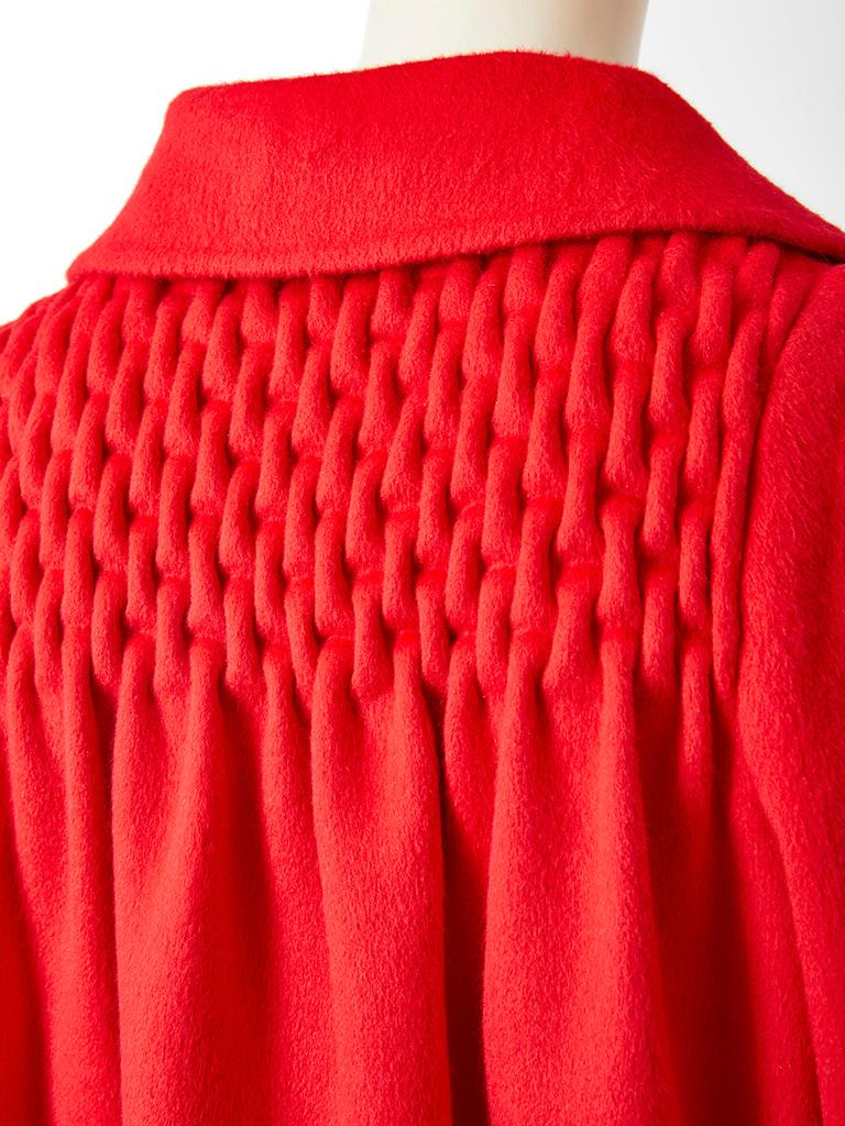 Bill Blass Double Face Cashmere Coat with Smocking Detail In Good Condition For Sale In New York, NY