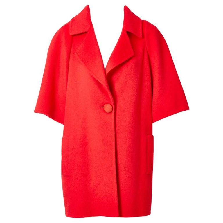 Bill Blass Double Face Cashmere Coat with Smocking Detail For Sale