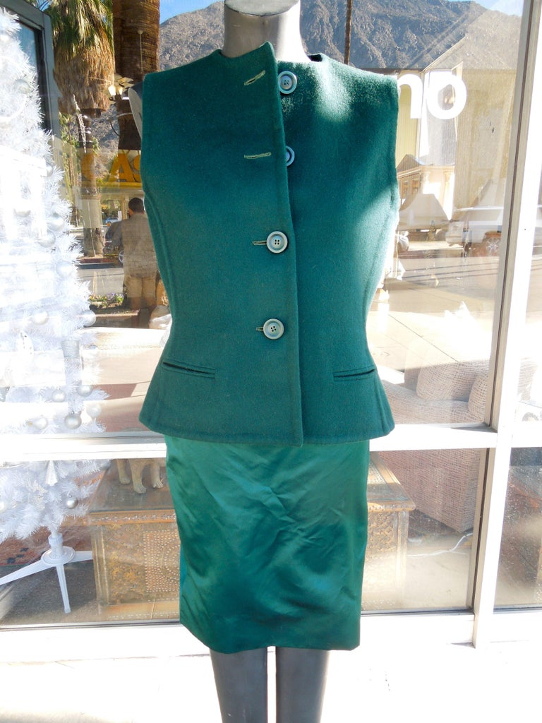 Bill Blass Emerald Green Stapless Cocktail Dress and Matching Vest In Excellent Condition For Sale In Palm Springs, CA