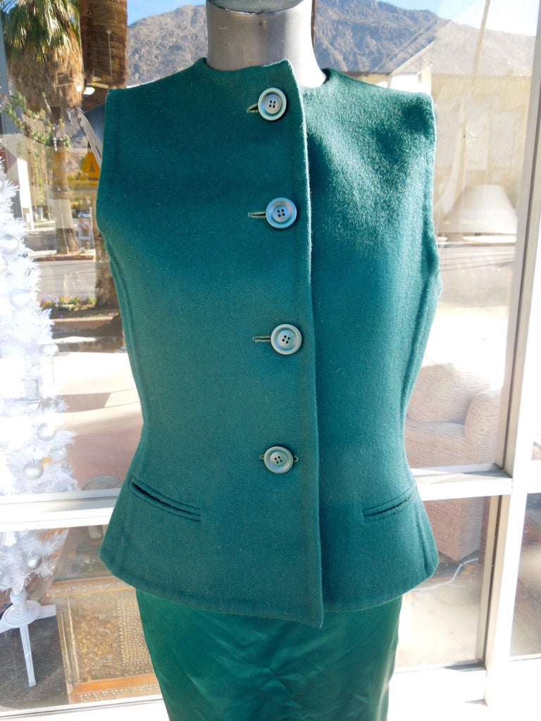 Late 20th Century Bill Blass Emerald Green Stapless Cocktail Dress and Matching Vest For Sale