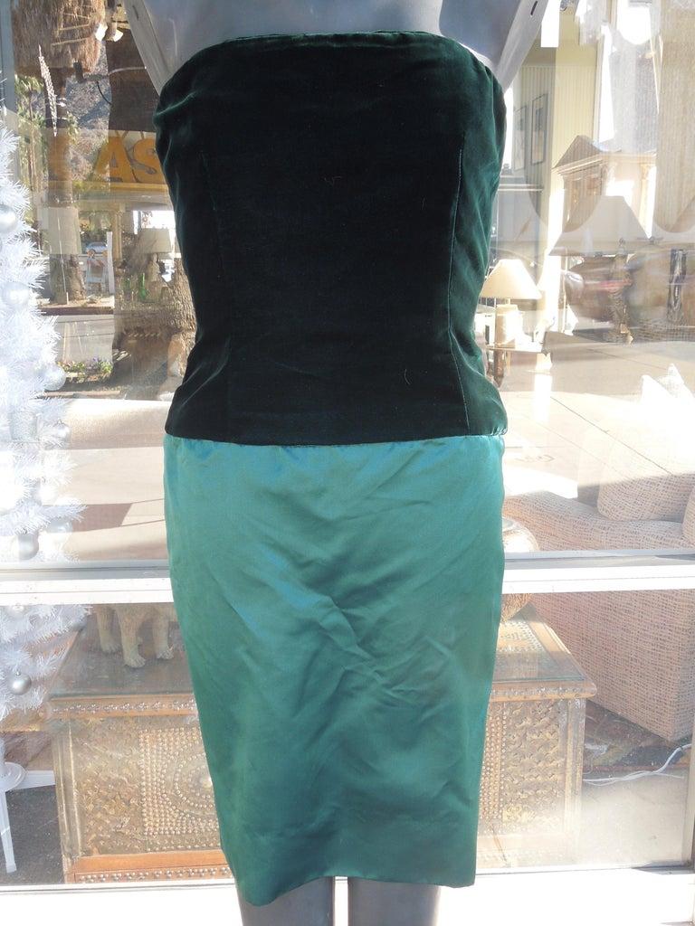 Bill Blass Emerald Green Stapless Cocktail Dress and Matching Vest For Sale 1