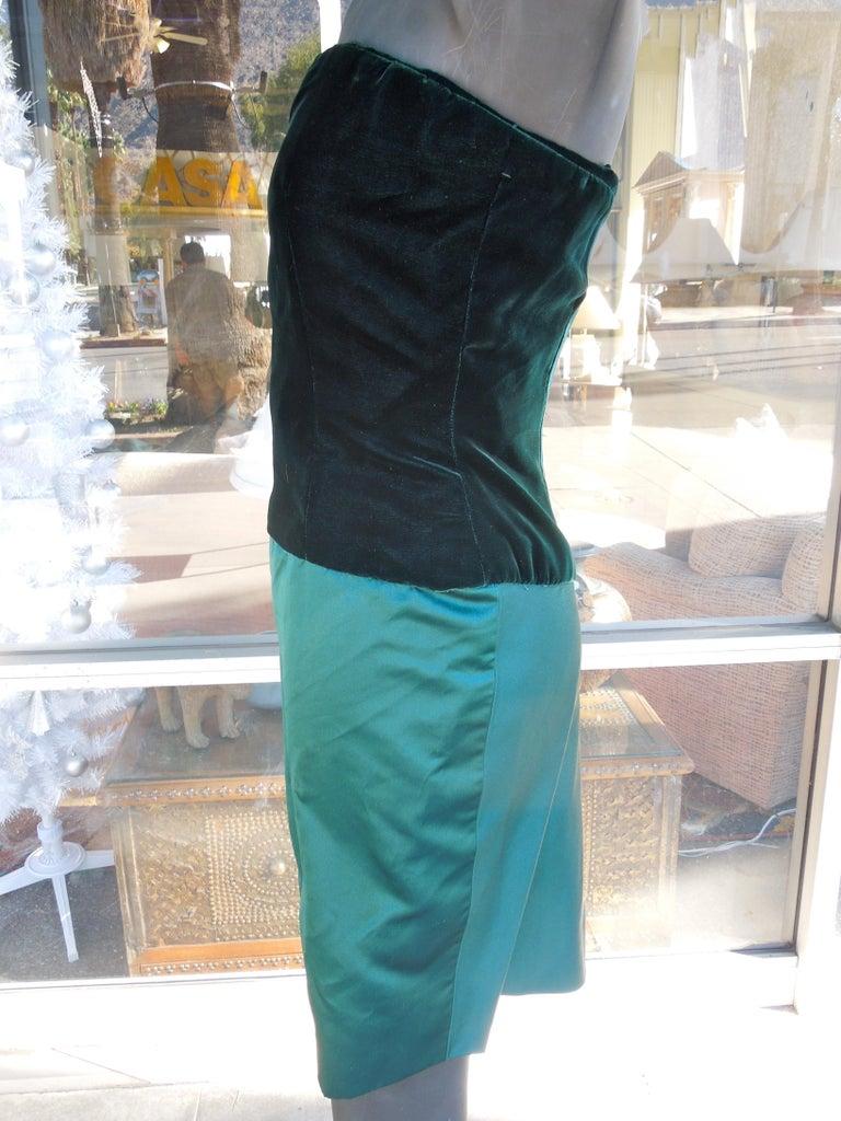 Bill Blass Emerald Green Stapless Cocktail Dress and Matching Vest For Sale 2