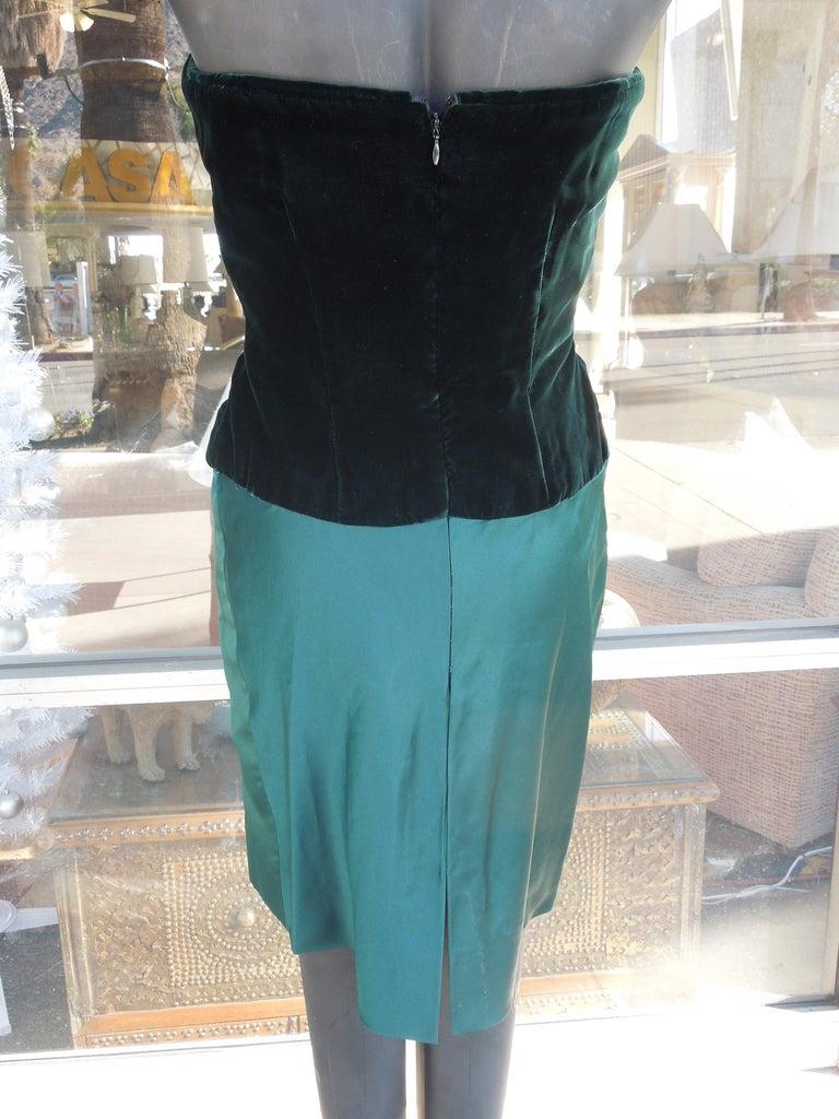 Bill Blass Emerald Green Stapless Cocktail Dress and Matching Vest For Sale 3