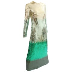 Bill Blass Evening Gown Ombre Metallic Emerald Sequins 70s Size 8