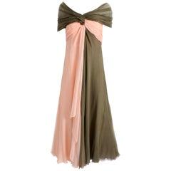 Bill Blass Evening Gown Silk Chiffon Layers Bicolor Martha Palm Beach Sz 12 Rare