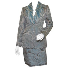 Bill Blass Feather Trim Jacket with Skirt Set